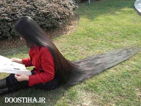 زنی با بلندترین مو در جهان
