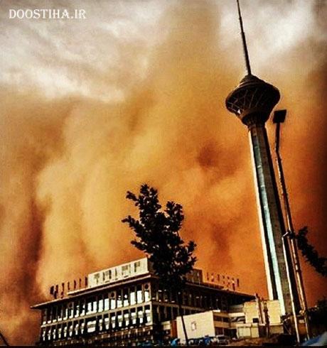 قدرت نمایی طوفان در مقابل برج میلاد